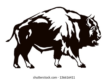 The black figure of a bison on a white background