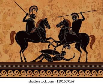 Black figure pottery.Ancient greek scene banner.Ancient greece warrior.Hero,spartan,myth.Ancient civilization culture.