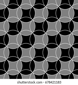 Black figures tessellation background. Image with oval and quadrangular shapes. Ethnic mosaic tiles motif. Seamless surface pattern design with interlocking circles ornament. Oriental art composition.