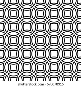 Black figures tessellation on white background. Image with oval and quadrangular shapes. Ethnic arabic mosaic tiles motif. Seamless surface pattern design with interlocking circles ornament. Vector.