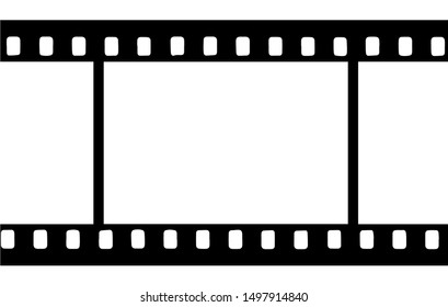 Black film strip icon in isolate on a white background. Vector graphics.