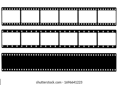 Black film strip icon in isolate on a white background. Vector illustration.