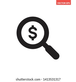 Black find best offer price magnifying glass icon, simple currency search data survey with us $ dollar interface, app ui ux web button logo, flat design pictogram vector isolated on white background