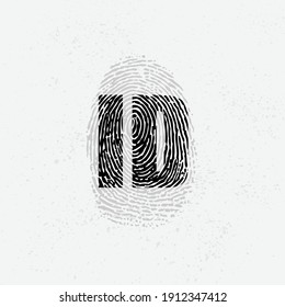 Black finger print isolated on white background. Grunge background with human fingerprint ID silhouette