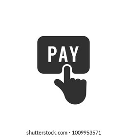 black finger push on pay button icon. concept of online shopping and retail e-commerce for web trade business. simple flat trend modern payment logotype graphic design isolated on white background