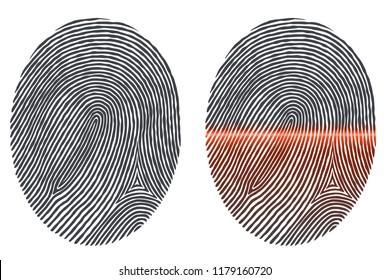 Black Fingerprint Imprint Isolated on White and Fingerprint Scanned with Optical Scanner. Vector Illustration.