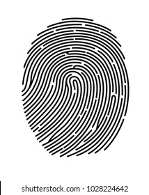Black fingerprint shape, secure identification. Vector illustration.