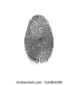Black fingerprint vector illustration on white background