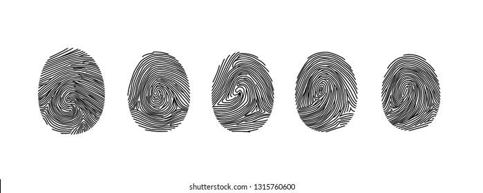Black fingerprints set, vector illustration isolated on white. - Vector
