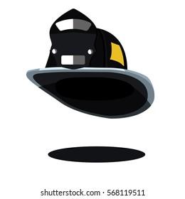 black fireman hat helmet USA American vintage. Icon. Vector