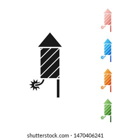 Black Firework rocket icon isolated on white background. Concept of fun party. Explosive pyrotechnic symbol. Set icons colorful. Vector Illustration