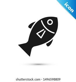 Black Fish icon isolated on white background.  Vector Illustration