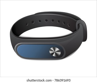 Black fitness bracelet to control physical activity, Bracelet, to wear on the arm. For classes in the hall and in the open air. Isolated on white backgroundVector illustration.