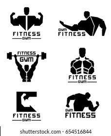 Black Fitness gym logo with Men have strong muscles vector set design