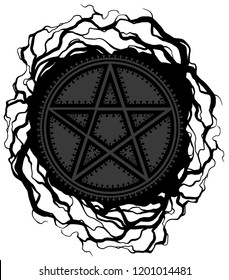 Black five pointed pentagram star with ornament and tree roots. On white background. Vector icon.