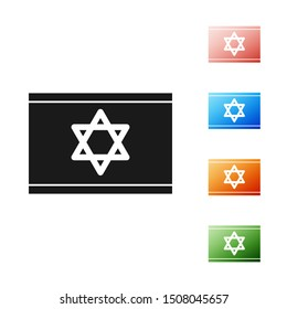 Black Flag of Israel icon isolated on white background. National patriotic symbol. Set icons colorful. Vector Illustration