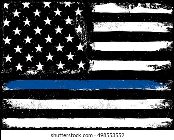 Black Flag with Police Blue Line.