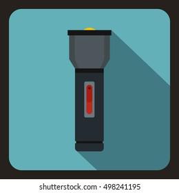Black flashlight icon. Flat illustration of flashlight vector icon for web