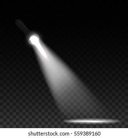 Black flashlight on transparent background. Light effect. Vector illustration.