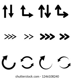 Black flat arrows set. Bold style. Vector illustration isolated on white background