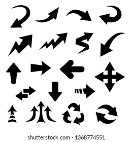 black flat cartoon drawn arrow and pointer icons