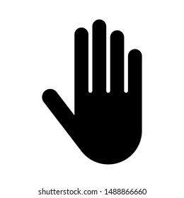 Black flat hand icon on white background.