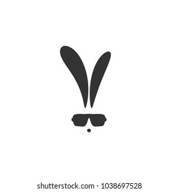 black flat hipster rabbit avatar with  glasses isolated on white. Graphic rabbit. Geek logo.