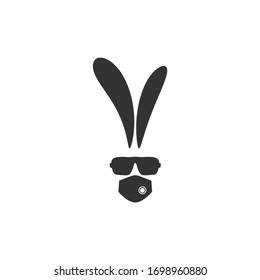 black flat hipster rabbit avatar with  glasses  and medical mask isolated on white. Easter quarantine rabbit. Geek logo. Mouth guard, virus protection, toxic air