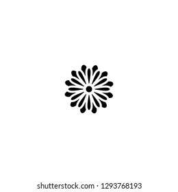 Black flat icon of chrysanthemum flower. Big Bloom with big oval petals and white core. Isolated on white.  Vector illustration. Eco style. Nature symbol.