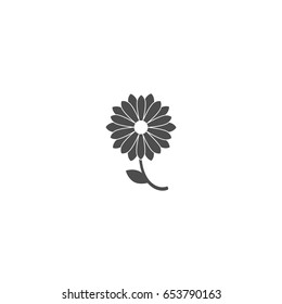 Black flat icon of chrysanthemum flower with curved sprig and leaf. Big Bloom with big sharp petals and white core. Isolated on white. Right turn sign. Vector illustration. Eco style. Nature symbol.