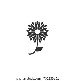 Black flat icon of chrysanthemum flower with curved sprig and leaf. Big Bloom with big oval petals and white core. Isolated on white. Vector illustration. Eco style. Nature symbol.