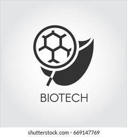Black flat icon of leaf and molecule symbolizing modern biotech. Simplicity label of biotechnology concept. Connecting science, nature and molecular chemistry theme. Vector logo