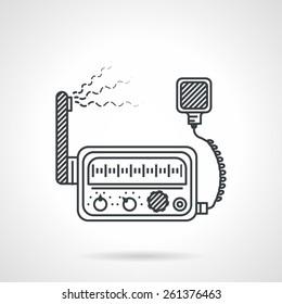 Black flat line design icon for VHF transceiver on white background