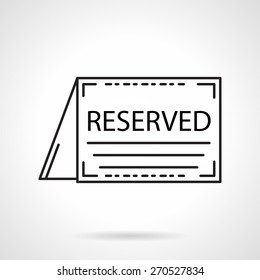Black flat line vector icon for reservation table folded card for cafe or restaurant on white background.