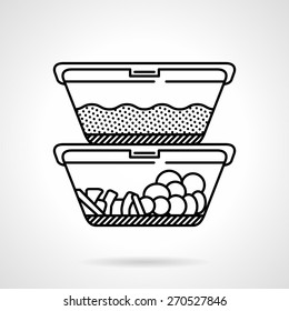 Black flat line vector icon for two lunch boxes or containers with food on white background.