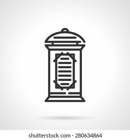 Black flat line vector icon for advertising column or pillar with informative poster and playbill on white background.