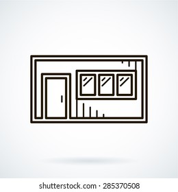 Black flat line vector icon office container on white background.