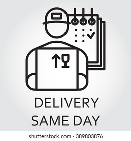 Black flat Line vector icon with a picture of delivery same day delivery