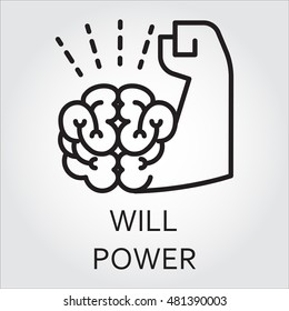 Black flat line vector icon with a picture of willpower as brain and muscle hand on white background.