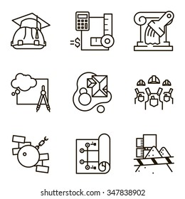 Black flat line vector set icon with a picture of a symbol construction engineering build  on white background.