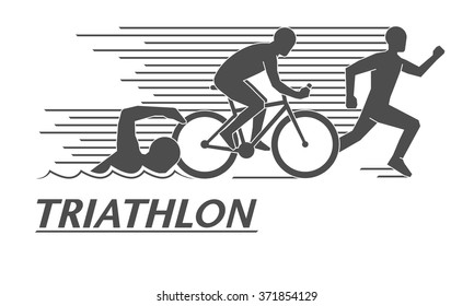 Black flat logo triathlon. Vector figures triathletes on a white background. Swimming, cycling and running symbol.