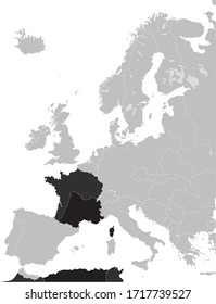 Black Flat Map of the French Third Republic (1870–1940) inside Gray Map of Europe