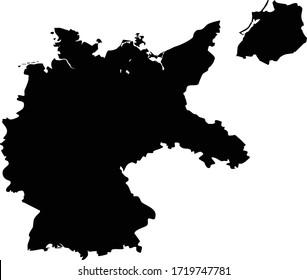 Black Flat Map of Weimar Republic (1918–1933)