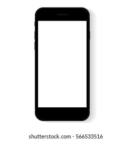 black flat phone white screen, vector drawing modern smart phone design