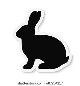 Black flat rabbit sticker icon isolated on white background. Vector EPS10