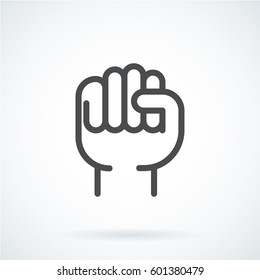 Black flat simple icon style line art. Outline symbol with stylized image of a gesture hand of a human fist to the top. Stroke vector logo mono linear pictogram web graphics. On a gray background.
