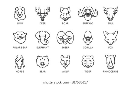 Black flat simple set icon style line art. Pack outline symbol with stylized image of a head of a wild animal. Stroke vector collection logo mono linear pictogram web graphics. On a white background.