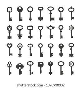 Black flat style icon set of key. Retro signs