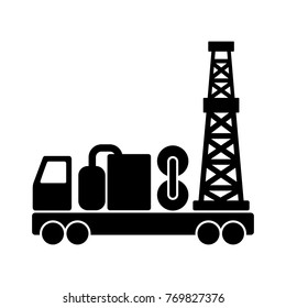 Black flat vector mobile drilling rig icon