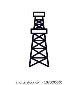 Black flat vector outline drilling rig icon; logo for oil and gas industry; EPS10